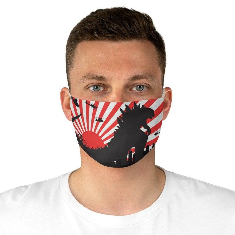 Godzilla Japanese Rising Sun Budget Fabric Face Mask Etsy Mask Godzilla Face Mask