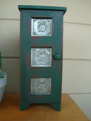 Antique Pie Safe With Green Apple Punched Tin Panels .