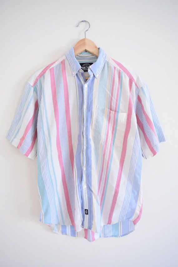 2a61898d13b PASTEL STRIPED SHIRT size mens medium 90s by GUTTERSHOPWEST