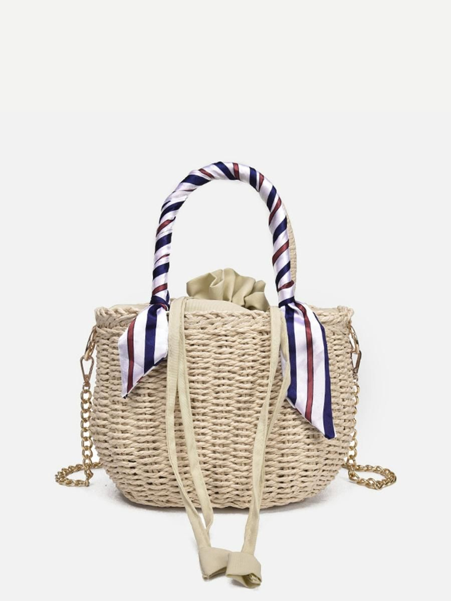 f520113ce7 Twilly Scarf Detail Weave Tote Bag -SheIn(Sheinside) | Bucket Bags ...