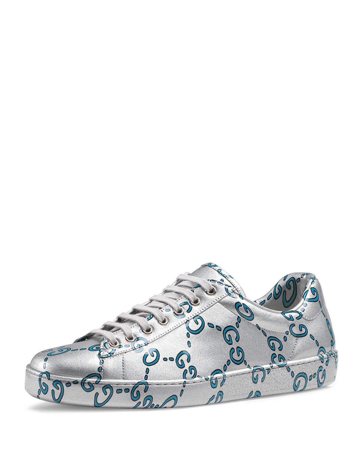 18dc67995 GUCCI MEN'S ACE GG COATED LEATHER SNEAKERS. #gucci #shoes   Gucci ...