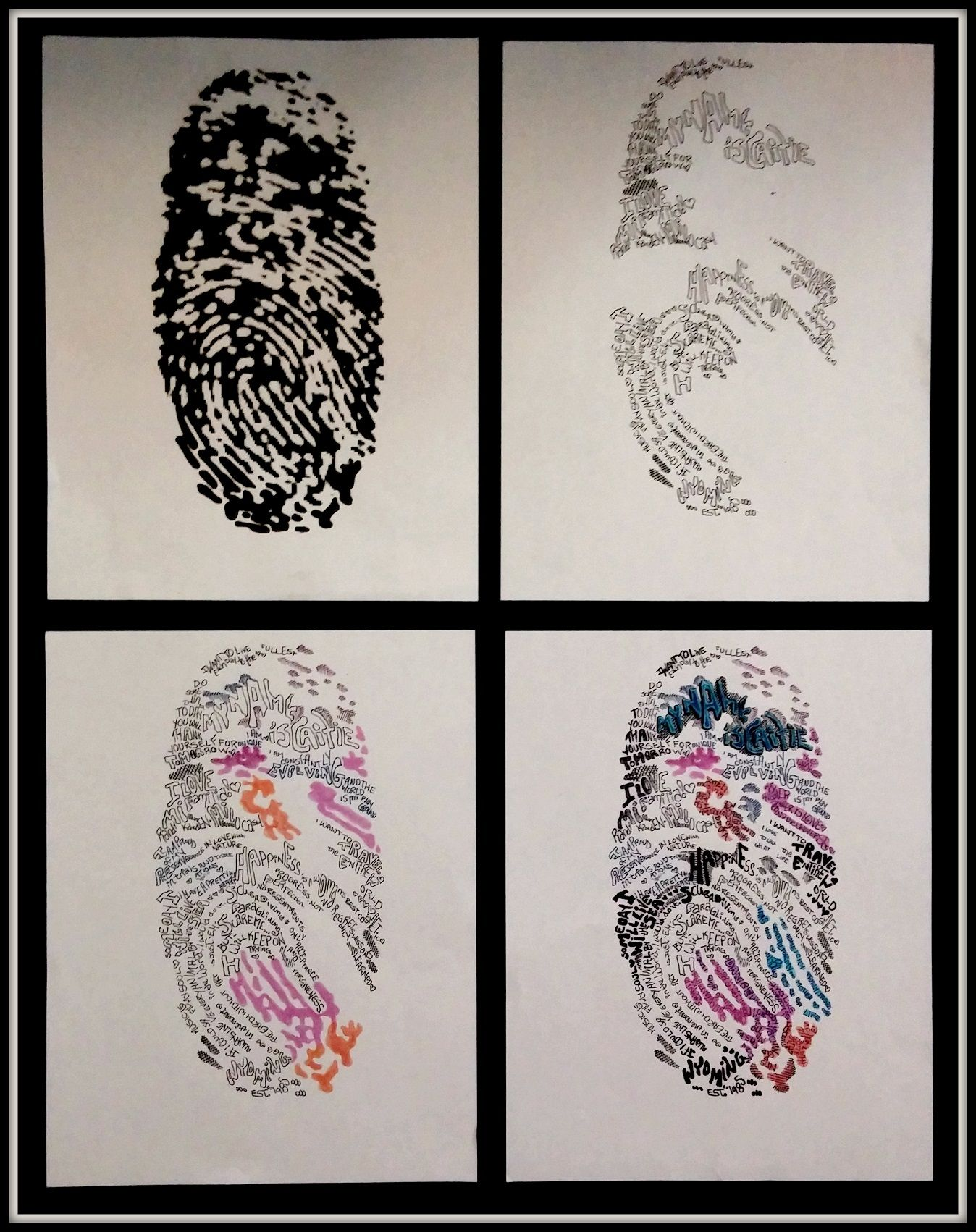 Fingerprint Art Project Use Black Stamp Pad To Collect Students Fingerprints Scan In