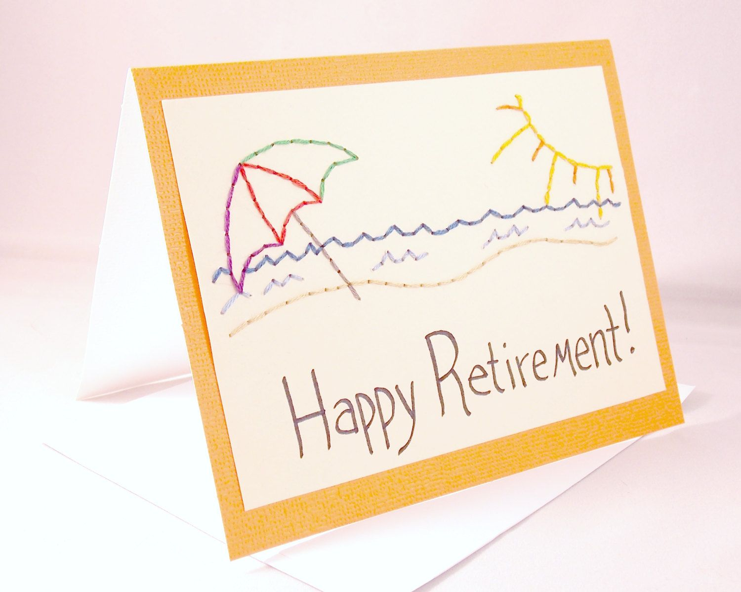 Hand embroidered retirement card beach umbrella seniors via