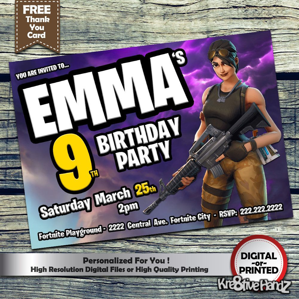 Fortnite birthday card invitation personalized printables gamers kids  invitations + free digital custom thank you card. fortnite invitation by ... 330699be0