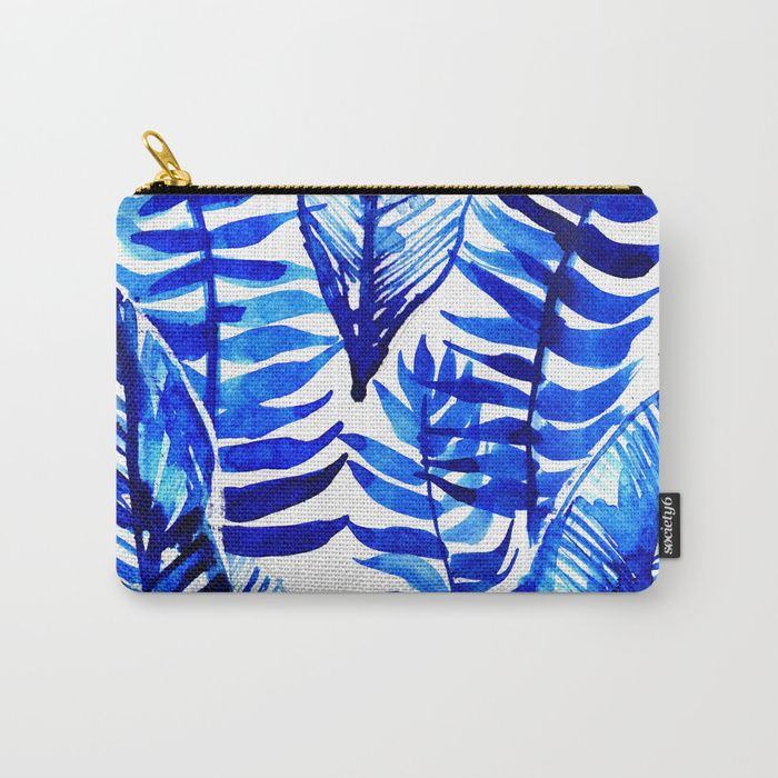 Jungle Leaves & Ferns in Blue Carry-All Pouch by lostmarketplace. Worldwide shipping available at Society6.com. Just one of millions of high quality products available.