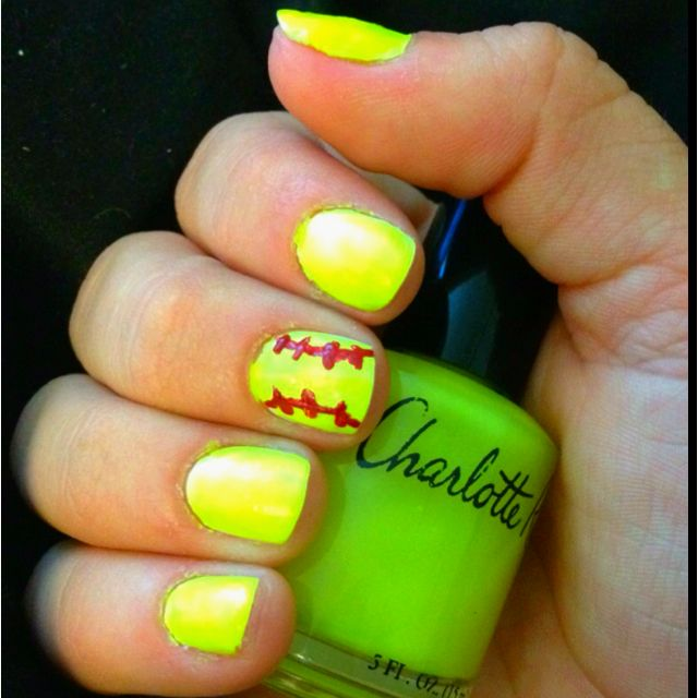 Softball Nails Cute For Hs With Your Number And The Ball Sching