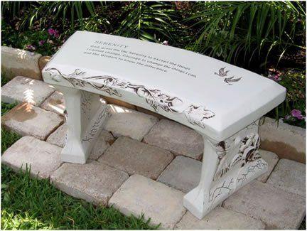 Hand Crafted Serenity Prayer Cast Stone Garden Bench By Southwest Graphix Personalization Available Stone Garden Bench Memorial Benches Concrete Garden Bench