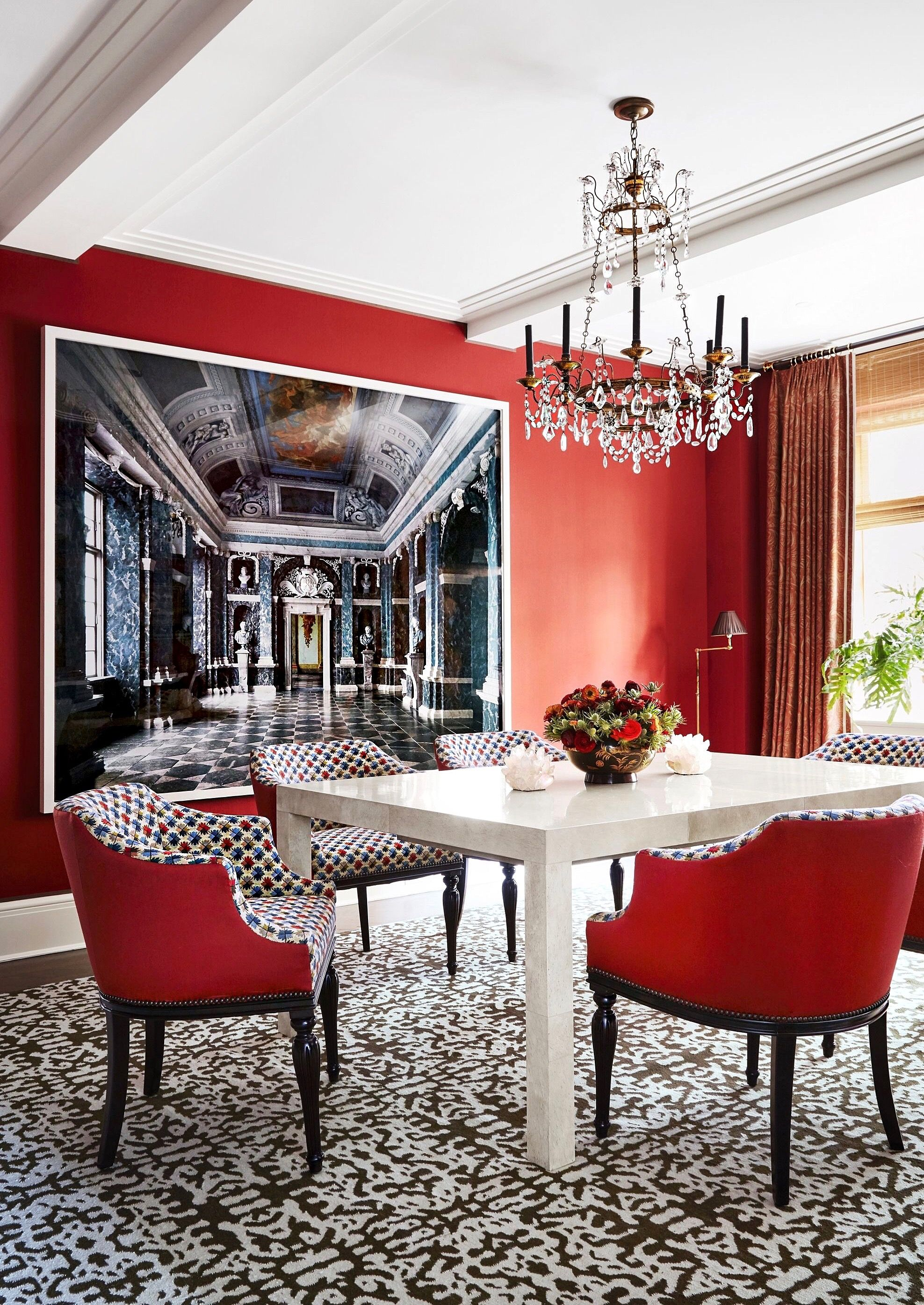 Red is the great clarifier - bright, cleansing, reveling. It makes all colors beautiful. | by #DianaVreeland | via #housebeautiful | design #markhamroberts | photo #thomasloof | #decoraid #interiordesign #style #fashion #art #love #redroom #schumacher #covelanding #dreamhome