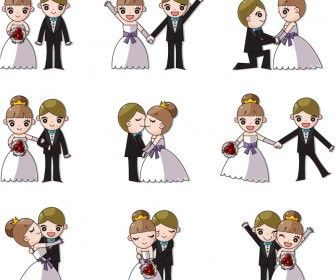 Vector Cute cartoon wedding couples
