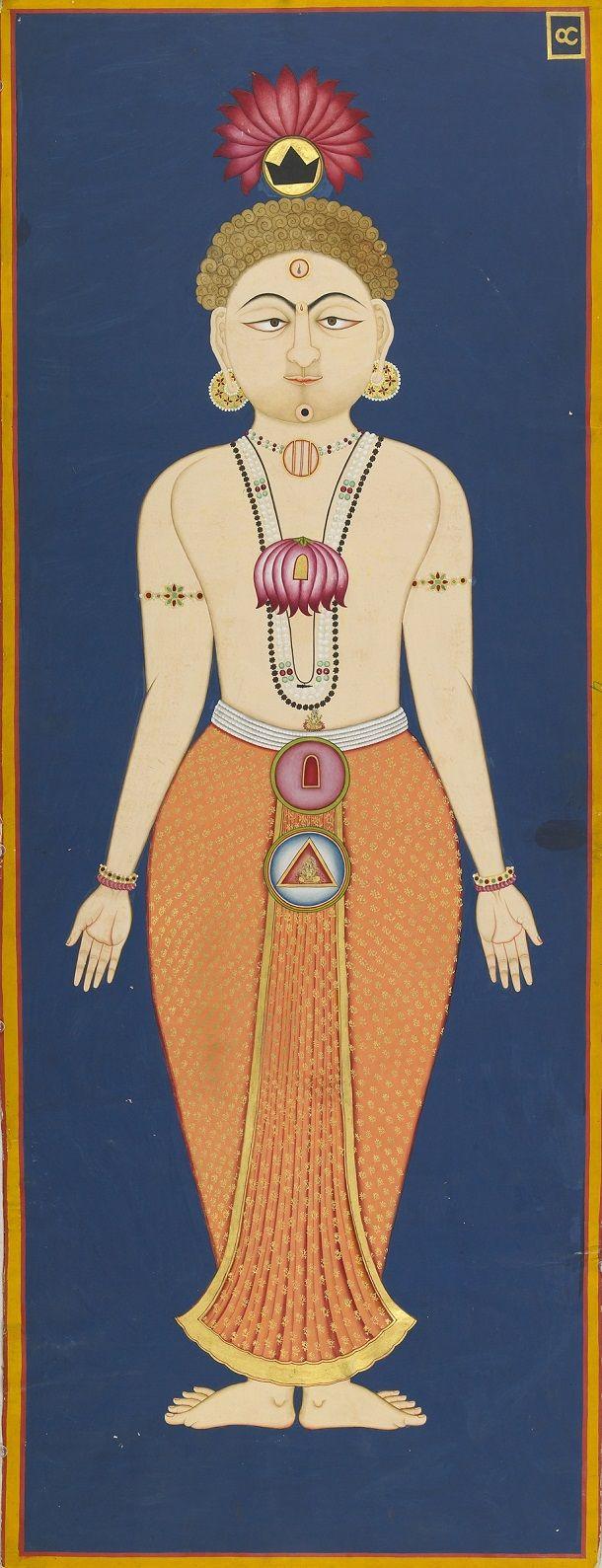 The Chakras of the Subtle Body - folio 4 from the Siddha Siddhanta Paddhati Bulaki - India, Rajasthan, Jodhpur 1824 (Samvat 1881) - Opaque watercolor and gold on paper