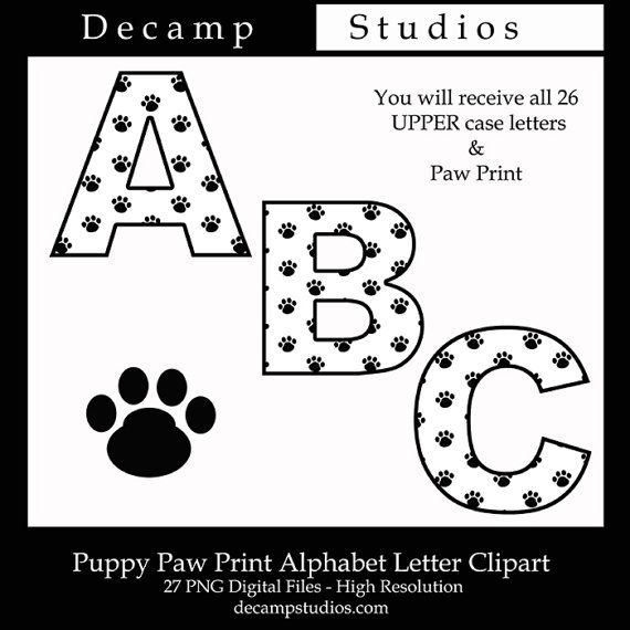 Baby Nursery Art Print Dog Abc Nursery Decor Alphabet Print: Puppy Dog Paw Prints Upper Case Alphabet Letters Digital