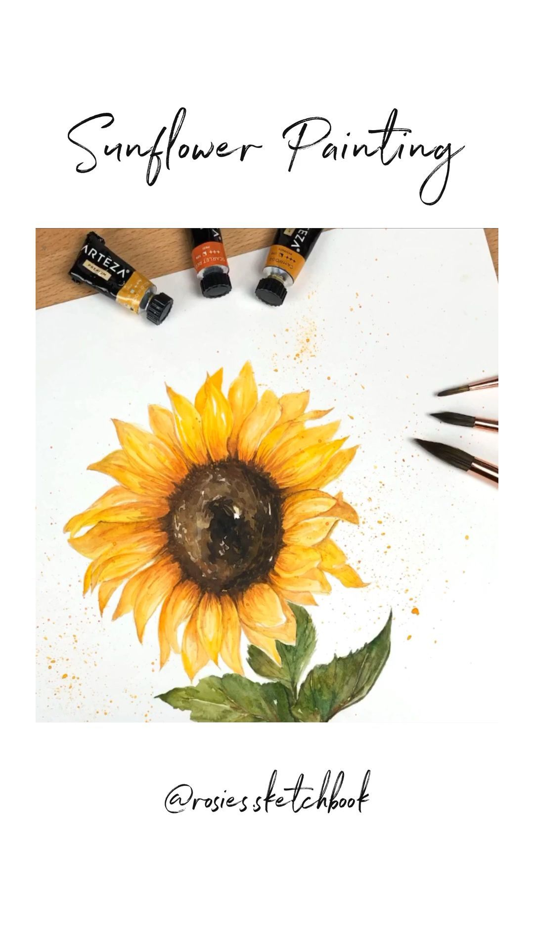 ✔ Art Watercolor Videos Sunflower #artisan #artistoninstagram #artworks