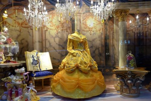 Belle's beautiful ball dress at the Galeries Lafayette Christmas windows