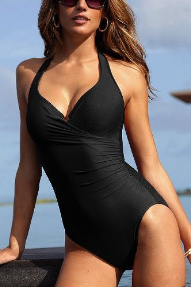 3950dbadbb9 Super Slimming Black Deep V-neck Ruched One-piece Swimsuit #Sexy #Slimming  #Black #Swimsuit #Design