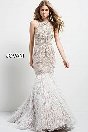 Jovani Dress 49416 Ivory Fitted Long Embellished Sleeveless High Neck Evening Gown Dresses Evening Dresses Jovani Dresses
