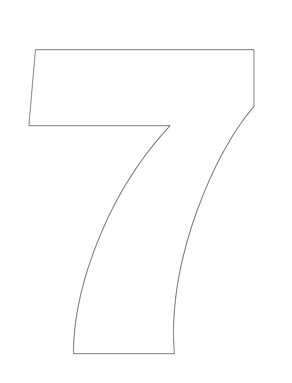 number 7 coloring page. Number Pictures to Color  7 Coloring Page use for Creation book Make Your Own Adult Book Pages Books and Activities
