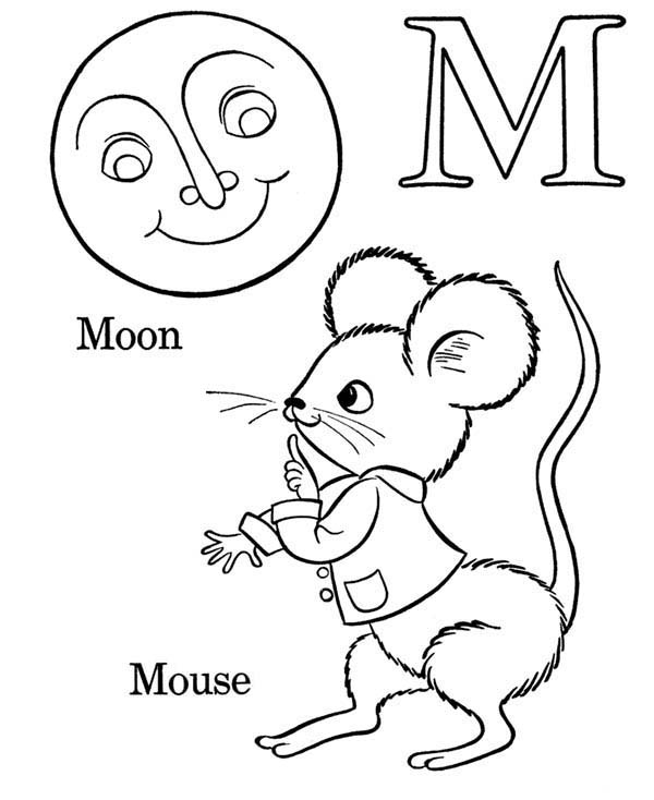 M For Mouse On Learning Abc Coloring Page Coloring Sky Abc Coloring Pages Abc Coloring Abc Mouse