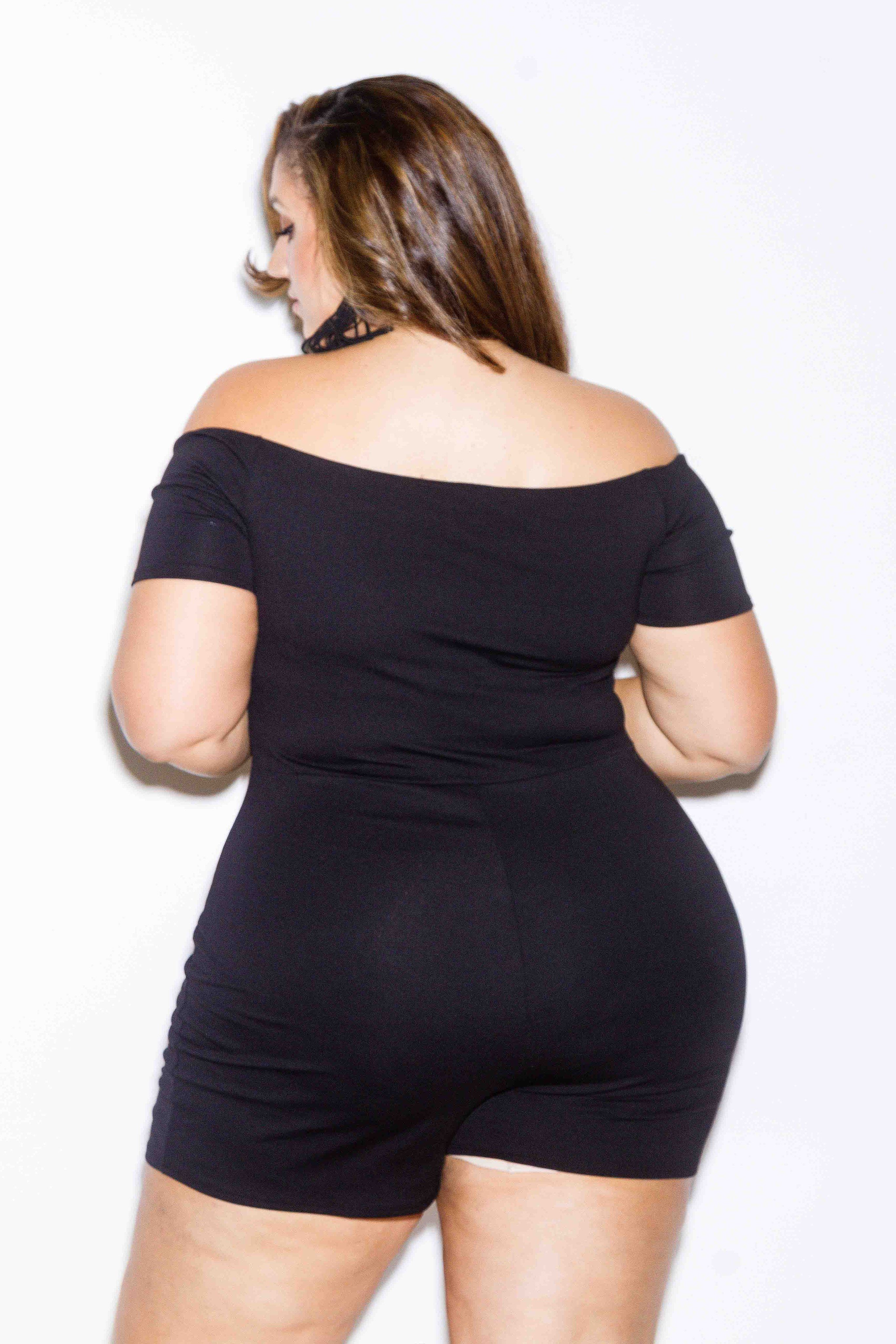 ace2b922a6 Plus Size Off Shoulder Romper | Erica Lauren McNeill (PinkClubWear ...