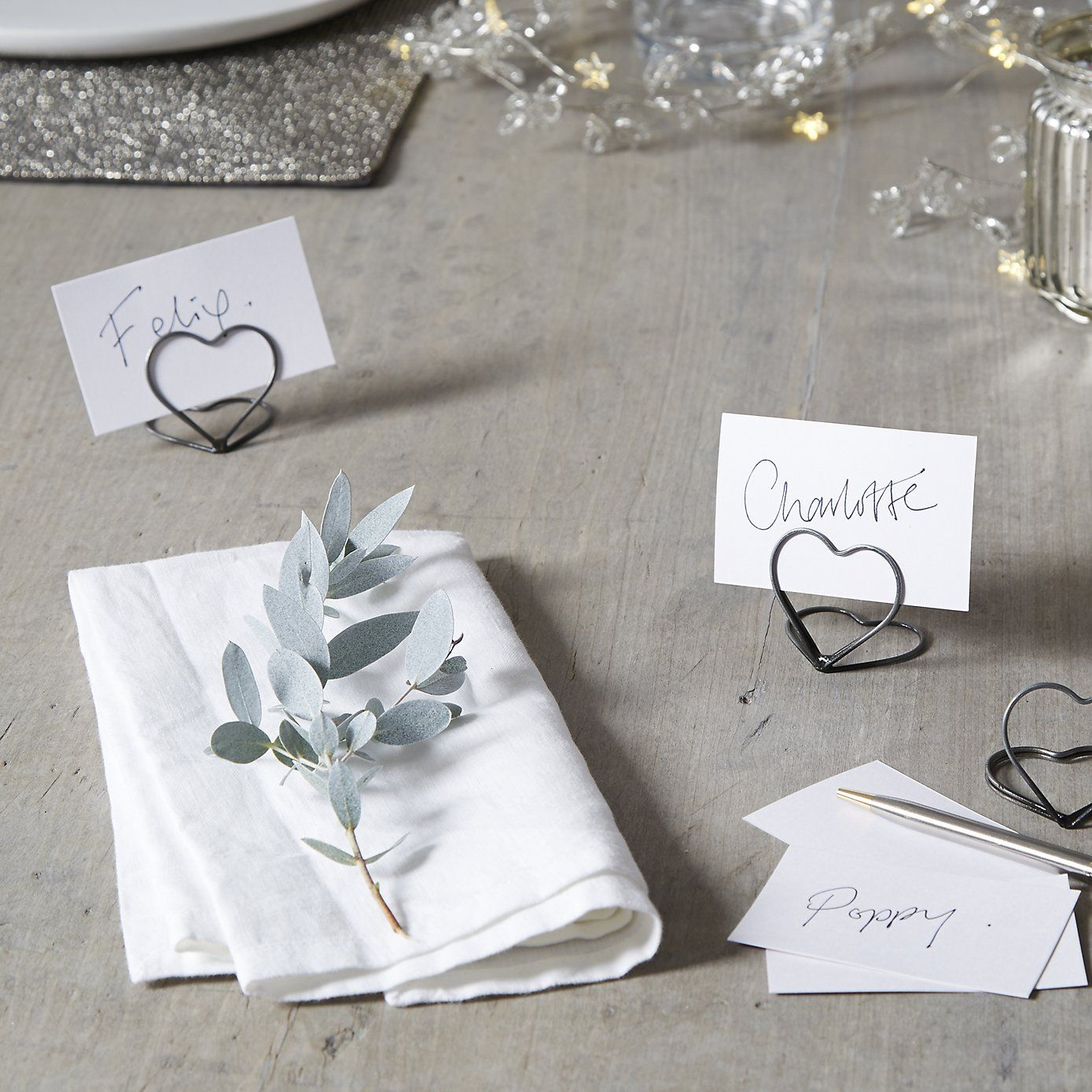 silver heart wedding place card holders%0A Heart Placecard Holders  Set of     The White Company  Shopping from the US