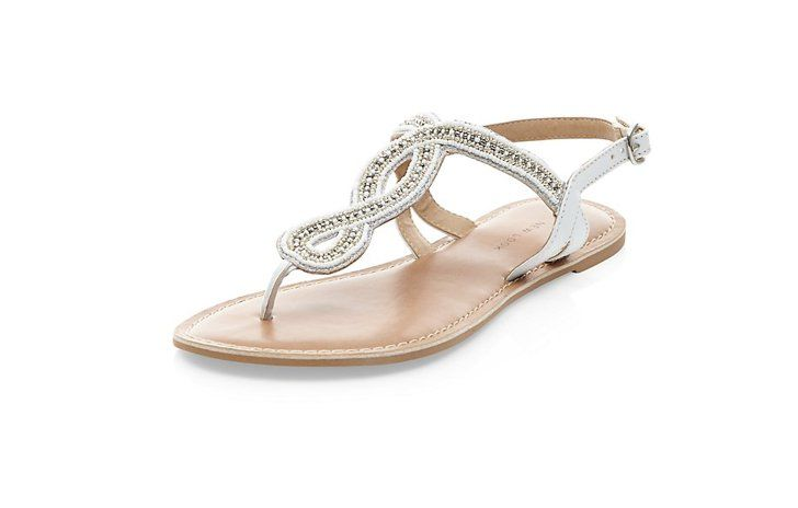 Wide Fit White Beaded Swirl Sandals