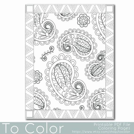 Paisley Printable Coloring Pages Fresh Items Similar to ...