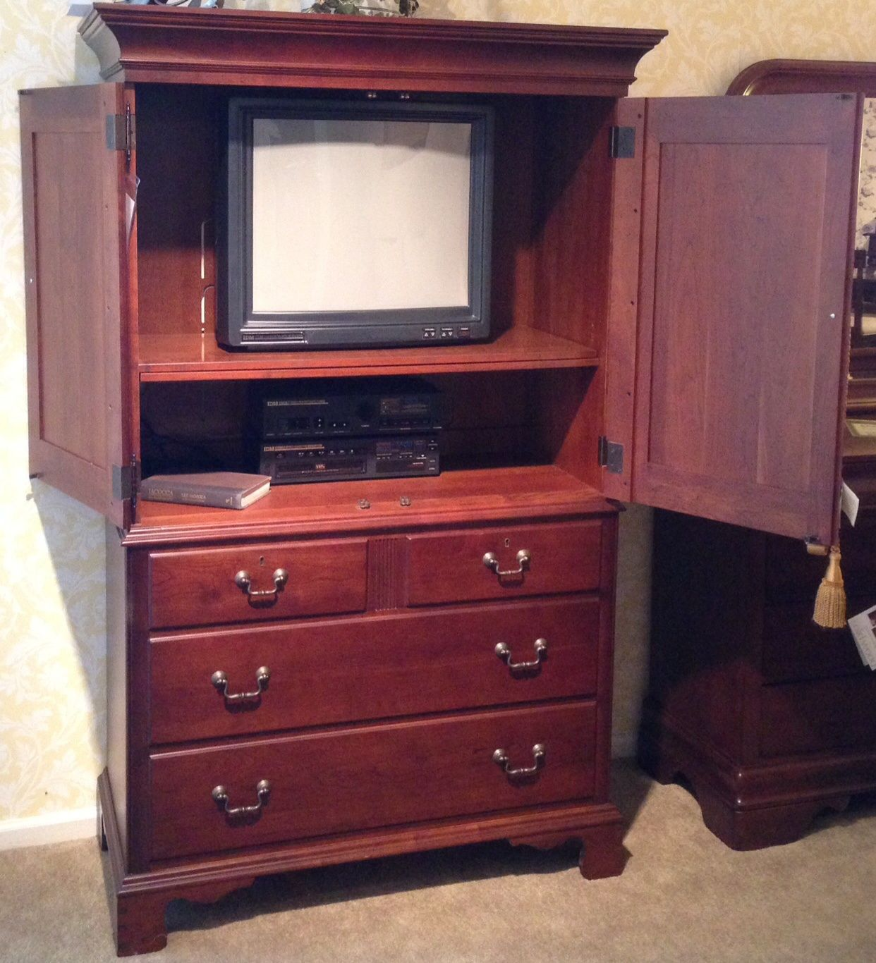 TV ARMOIRE: Solid Cherry, Fold Back Doors, 2 Adjustable Shelves, Knock