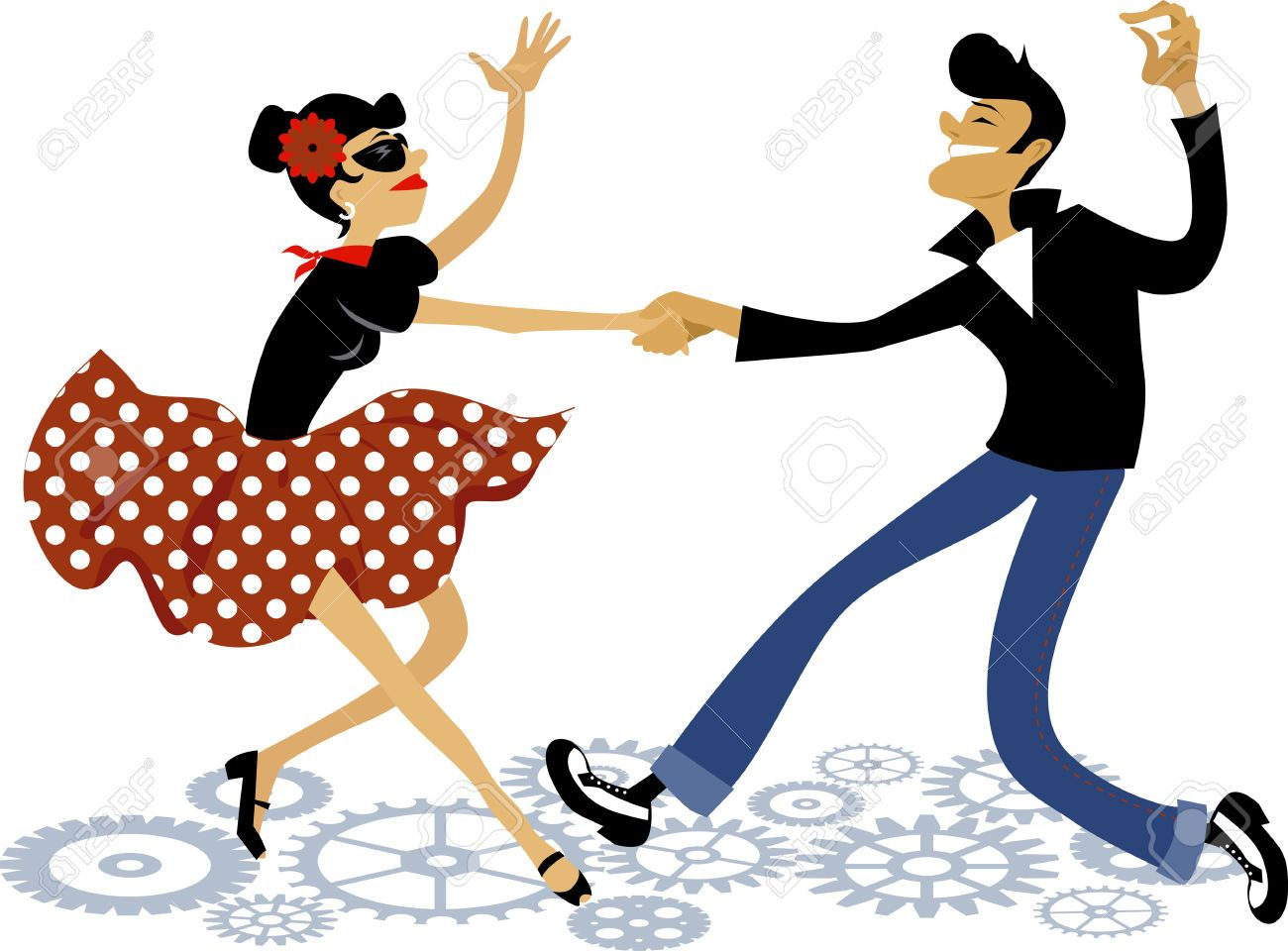 43432377 Cartoon Couple Dressed In Rockabilly Style Fashion Dancing Rock Stock Photo Jpg 1300 960 Bailar Dibujo Baile Rock Roll