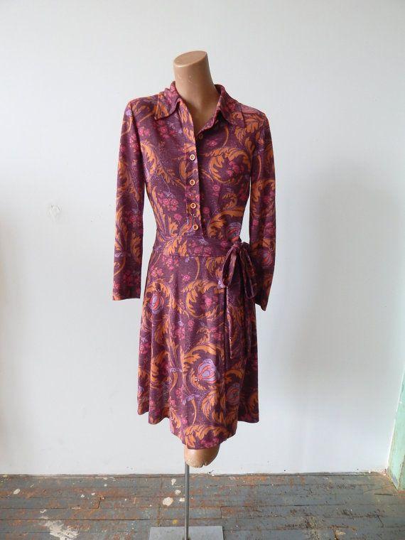 Vintage 1970s Floral Knit Wrap Dress Fall Colors by VintageZipper
