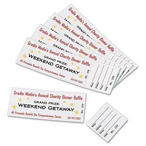 Avery Printable Tickets W Tear Away Stubs 97 Bright 65lb 8 5 X 11 White 10 Tickets Sheet 20 Sheets Pack Officesupply Com Raffle Tickets Template Ticket Template Address Label Template