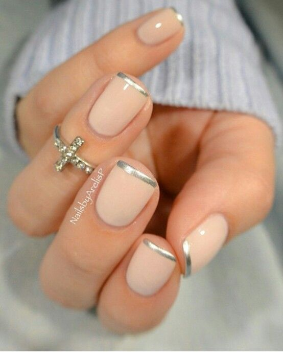 Silver tip nails idea for natural nails | Nails | Pinterest ...