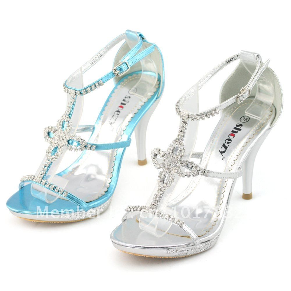94b8e479104 SHOEZY Luxurious Womens Silver and Blue Satin Strappy Diamante Open Toes  Platform Pumps Wedding Evening Bridesmaid Heels Shoes