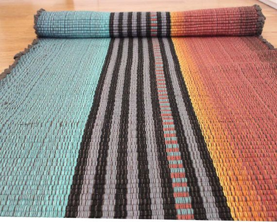 Cotton Rag Rug Runner Teal And Rust