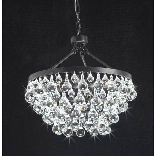 Antique Black 5 light Crystal Drop Chandelier NA