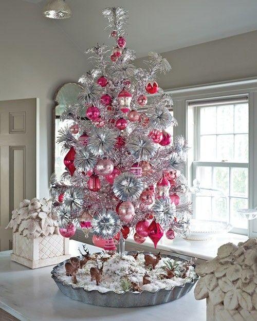 silberne rosa kugeln weihnachtsbaum dekorieren weihnachten pinterest weihnachten. Black Bedroom Furniture Sets. Home Design Ideas