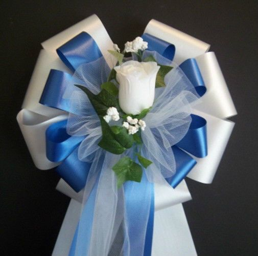 6 Royal Blue White W White Rose Bud Pew Bows Wedding Decorations