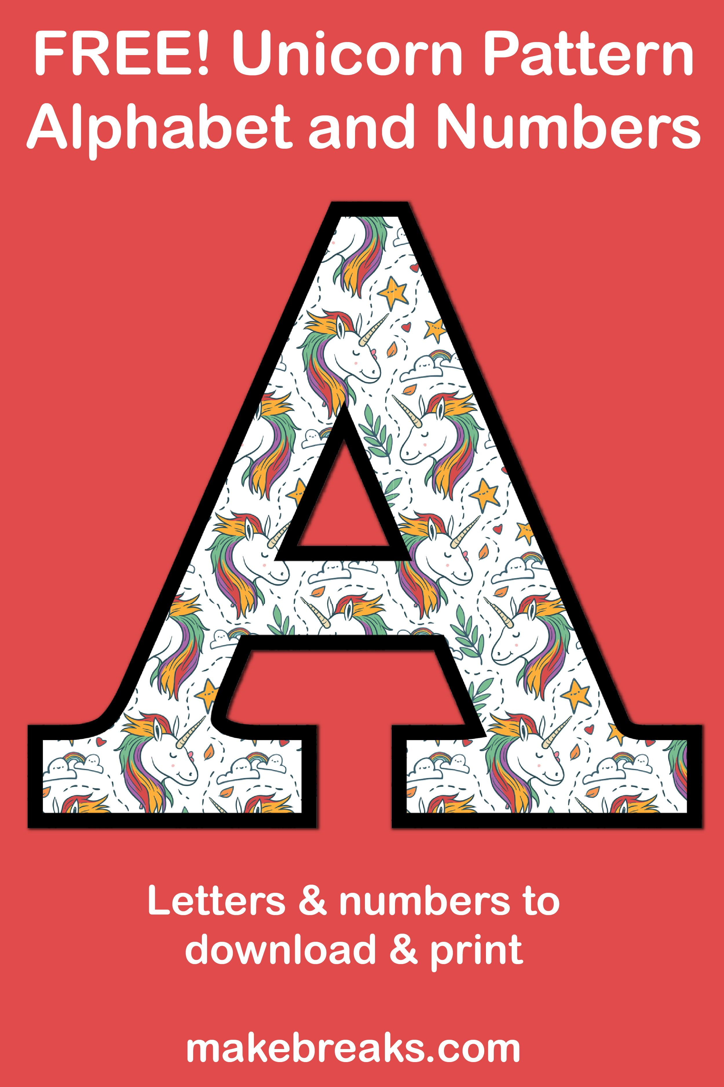 Unicorn Letters Amp Numbers To Print 2