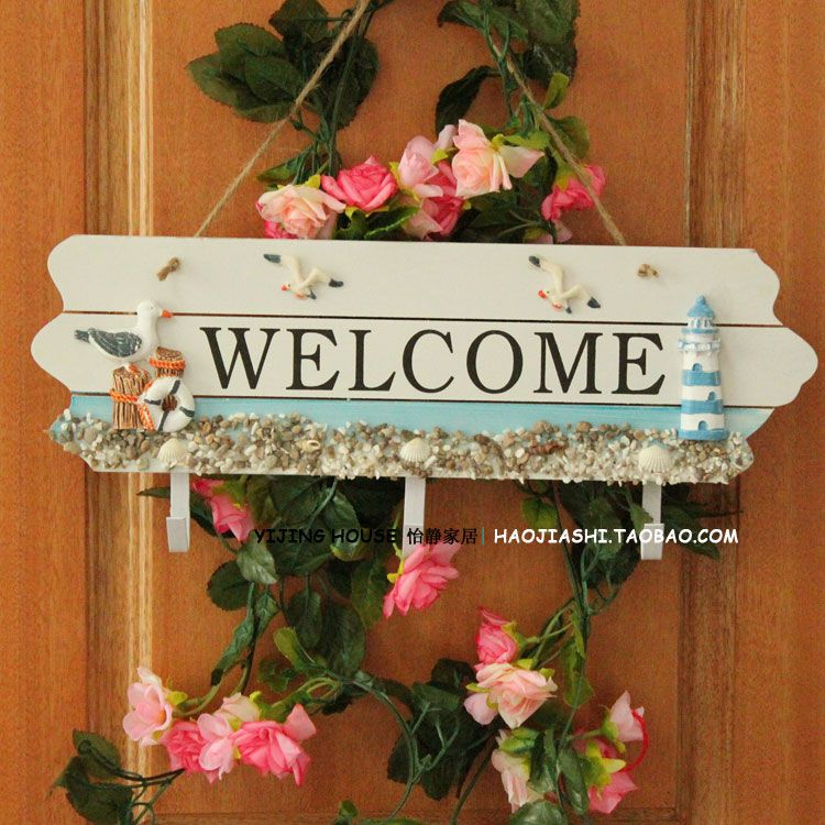 Welcome to the Pastoral the WELCOM listed mural decorated in a Mediterranean style the wall hangings house wedding garland door trim - Taobao
