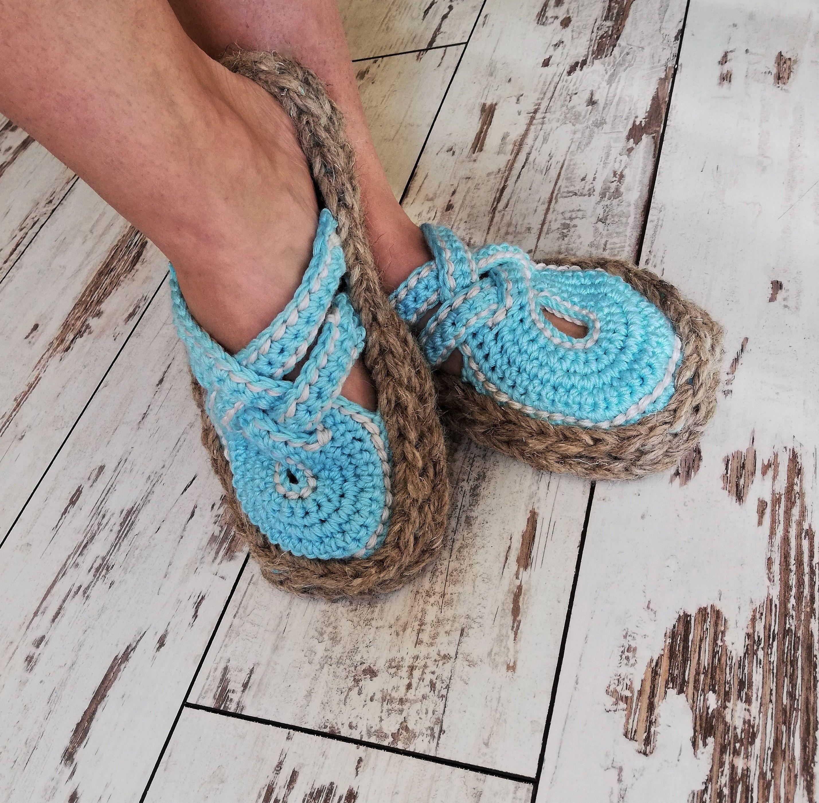 59e35a7874b4a Crochet summer outdoor flip flops with rubber soles /Summer house ...