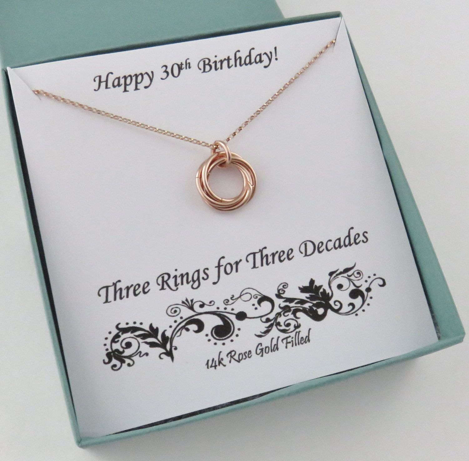 30th Birthday For Her, Rose Gold Necklace, 30th Birthday