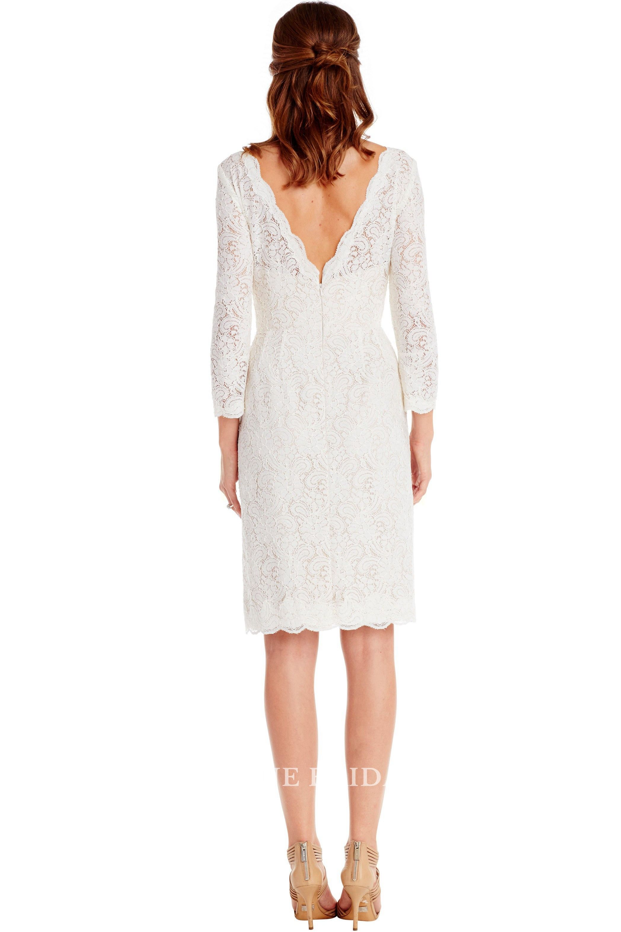 Pencil longsleeve bateauneck midi lace little white dress white