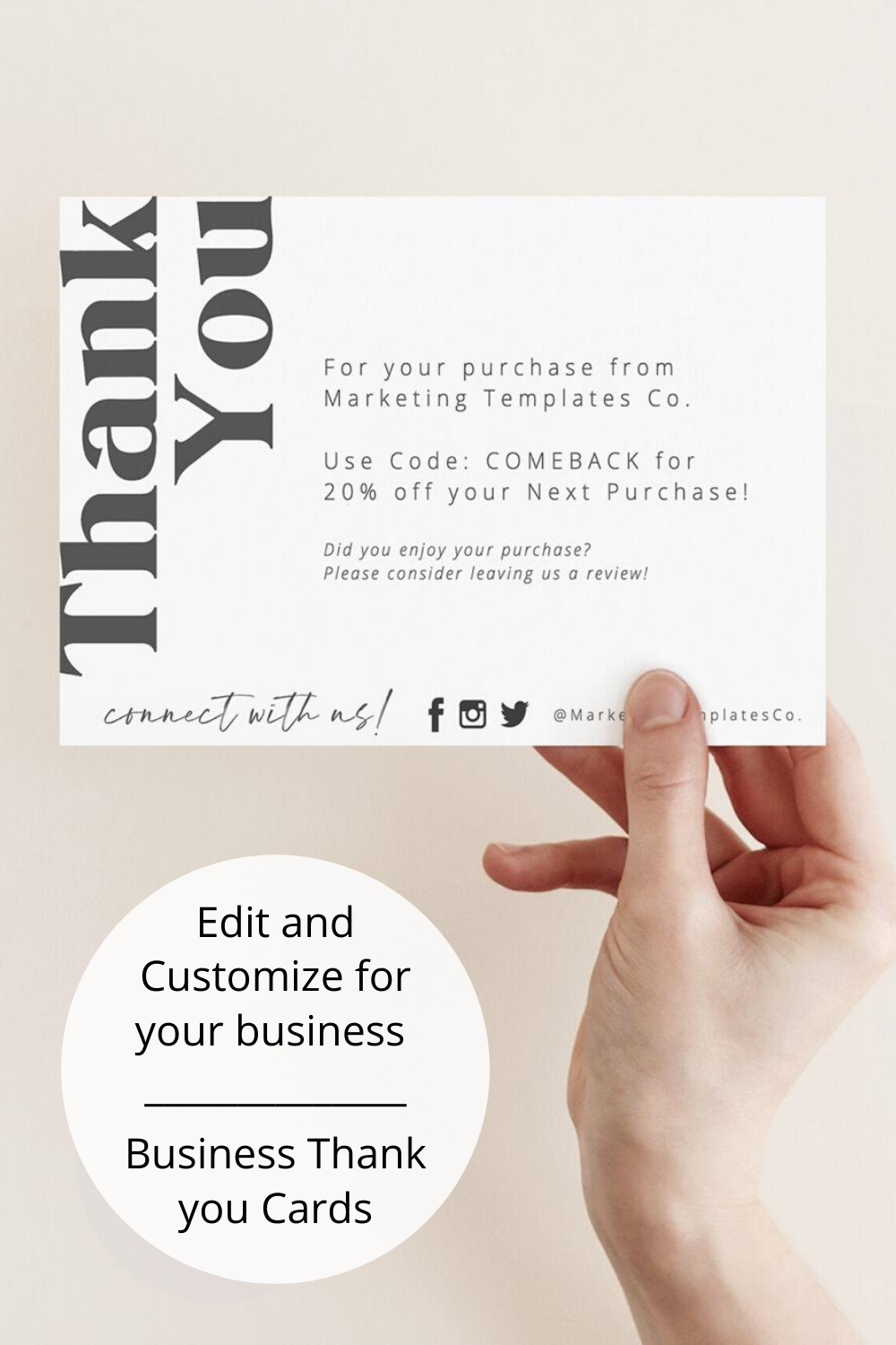 Thank You For Your Order Card Insert Diy Business Thank You Cards Package Insert Cards Etsy Seller Insert Cards Coupon Code Cards Business Thank You Cards Business Thank You Small Business