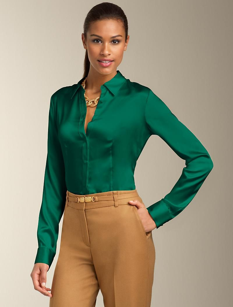 f3c555d06978a Talbots Silk Charmeuse Shirt in windsor green