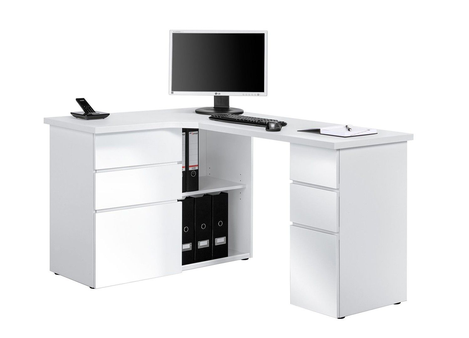 Bureau informatique dangle contemporain avec rangement blanc