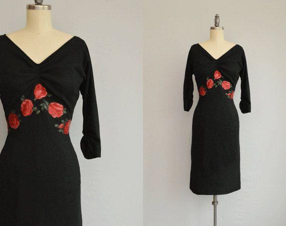 Vintage 50s dress 1950s edith flagg rose applique by zestvintage