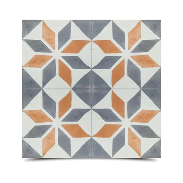 Too Much Color Assila Grey And Orange Handmade Cement And Granite - 8 inch square ceramic tiles