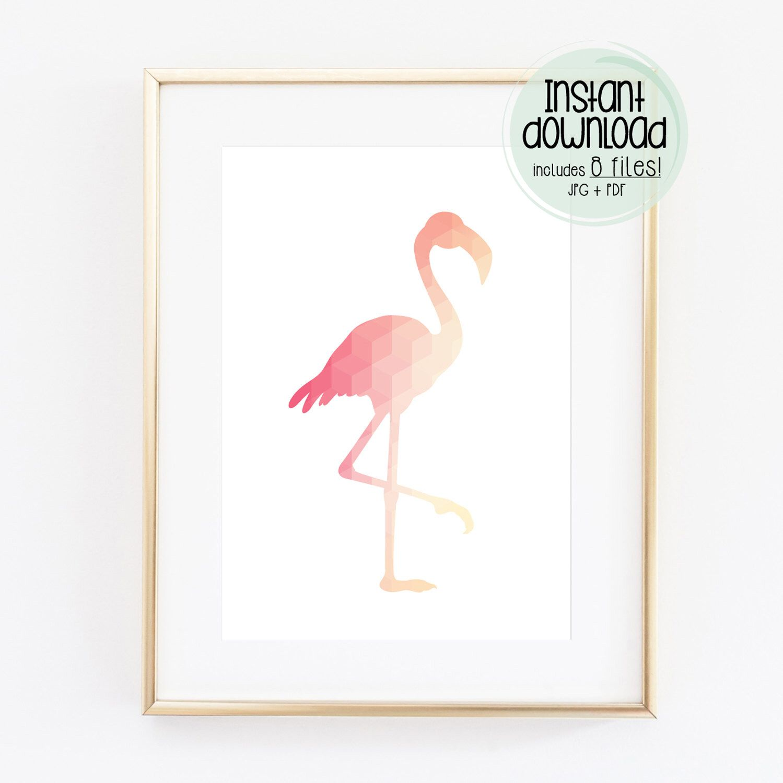 Printable Room Decor Geometric Animal Print Flamingo Digital Printable Artwork Coral