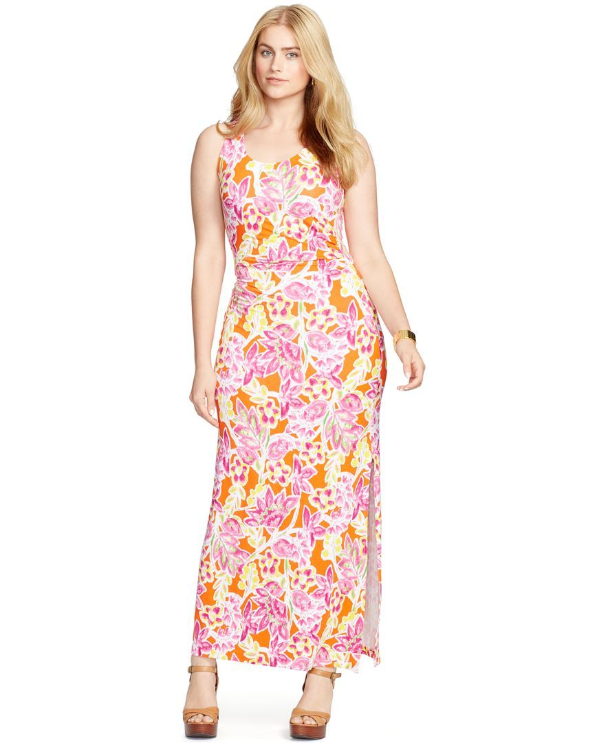 Lauren Ralph Lauren Plus Size Floral Print Floor Length Dress Maxi