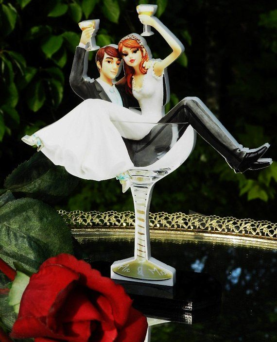 Fun Casual Wedding Cake Topper Bride Groom Toasting In Champagne Glass Acrylic
