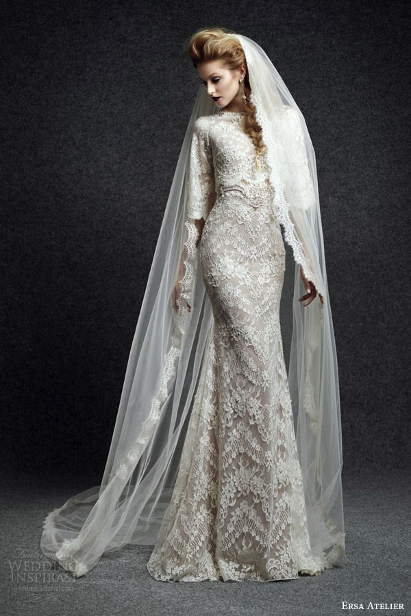 Ersa Atelier Fall 2015 Bridal Niobe Lace Wedding Dress With High Neck And Half Sleeves