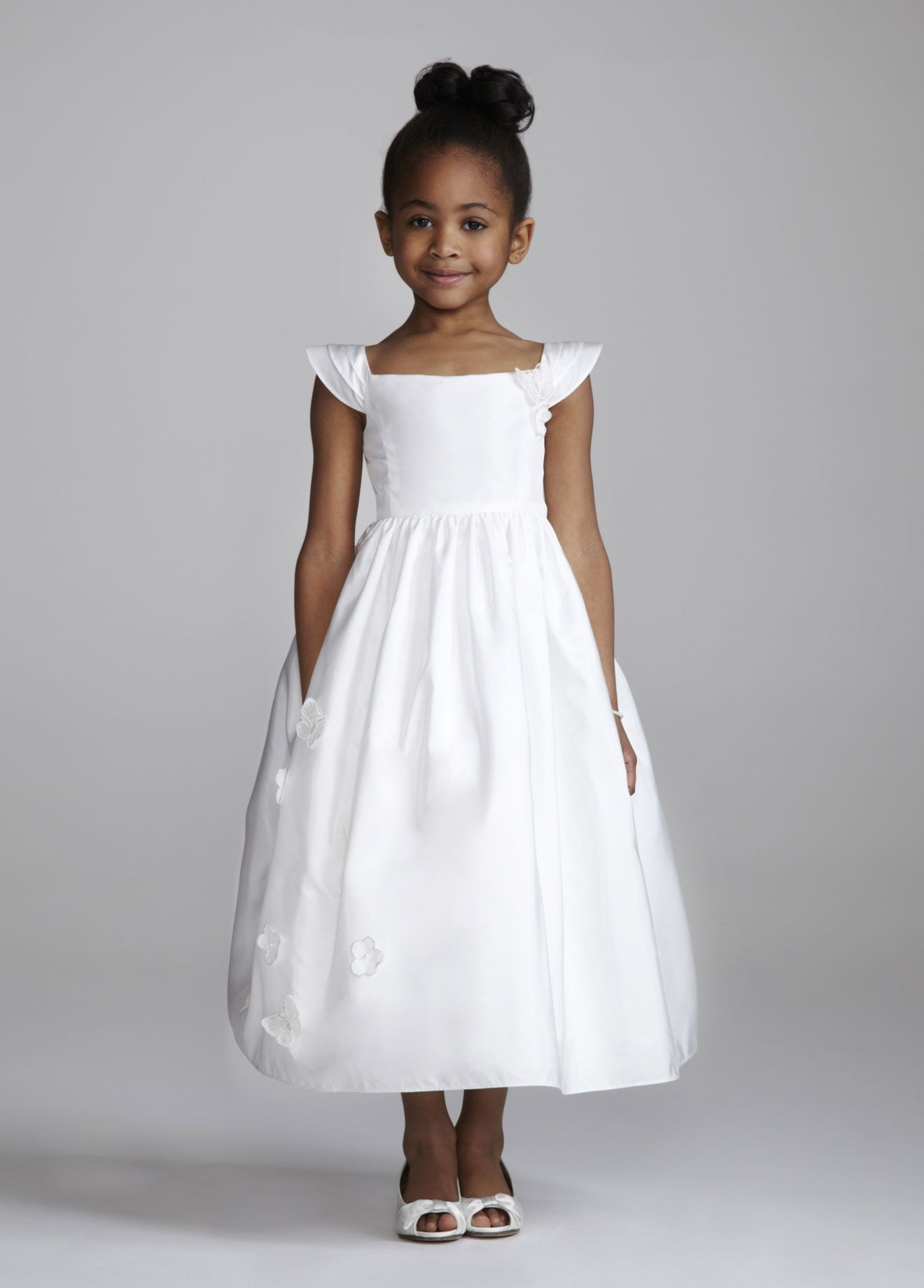 9782e146537 Flower girl dress for my niece! David s Bridal - Cap sleeve Taffeta tea  length ball gown features flower and butterfly detail.